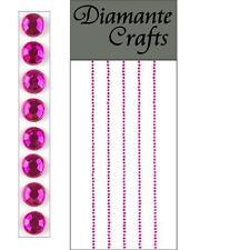 300 x 1mm Hot Pink Diamante Self Adhesive Strips Rows Rhinestone Craft Gems