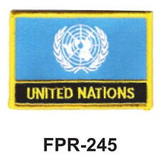 "2-1/2'' X 3-1/2"" UNITED NATIONS Flag Embroidered Patch"