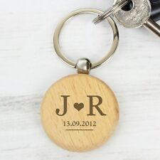 Personalised Monogram Wooden Keyring Wooden Keyring Gift Key Ring Birthday