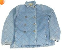 Ralph Lauren Quilted Denim Blue Jean Jacket Outdoor Plaid Lined Equestrian M