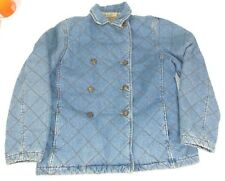 Ralph Lauren Quilted Denim Blue Jean Jacket Outdoor Plaid Lined Equestrian M