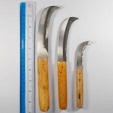 Thai Curve Knife Cut Banana Garden Tools Set 3 Pcs Wood Handle Knives Yard New
