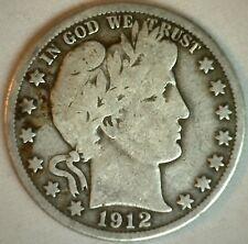 1912 D Barber Silver Half Dollar 50 Cent Us Type Coin Good K