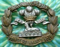 South Lancashire Regiment Prince of Wales Vols Cap Badge 2 Lugs Antique ORIGINAL