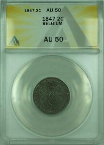1847 2C Belgium ANACS AU-50 2 Centimes Copper Coin KM#4