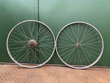 "Pair Of 26 X 1 3/8"" Raleigh Stainless Wheels 4 Speed FG Dyno Hub Wheelset"