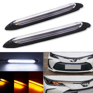 """2pcs 10.83"""" Car LED Daytime Running Lights Sequential Flow Turn Signal DRL Lamps"""