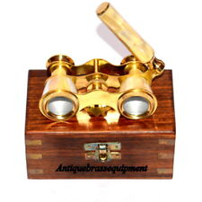 VINTAGE BRASS MOTHER-OF-PEARL-BINOCULAR CLASSIC OPERA-GLASSES WITH WOODEN BOX