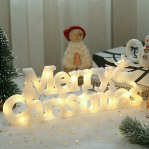 Merry Christmas Letter Light Sign LED Lamp For Wreaths Garden Party DIY Decor