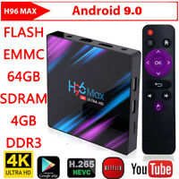 H96 Max 3318 Smart TV Box 4G+64G Android9.0 WiFi Quad Core 1080p 4K Media Player