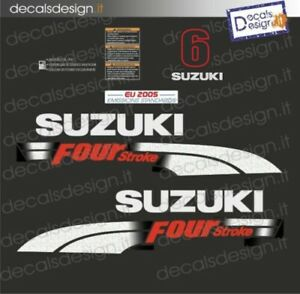 Adesivi motore marino fuoribordo Suzuki 6 cv four stroke 2006 stickers