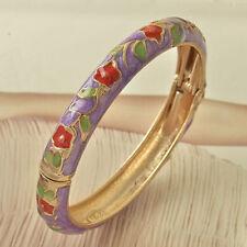 Pretty New 9K Yellow Gold Filled Purple & Red Flower Enamel Bangle Bracelet