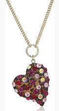 Betsey Johnson B12915-N01 Roses Leopard and Pink Pendant Necklace