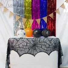 Cobweb Black Lace Spiderweb Fireplace Mantle Scarf Cloth Halloween Party Decor