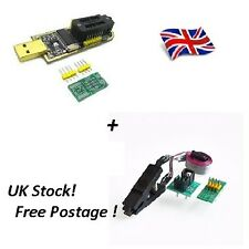 CH341A 24 25 Series EEPROM Flash BIOS USB programmeur + SOIC 8 Clip On-Board... UK