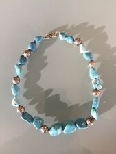 """Natural Sleeping Beauty 15"""" Turquoise Necklace With Silver Beads"""