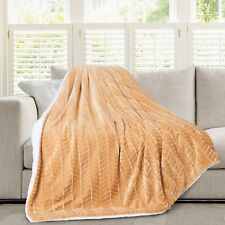 Hiyoko 3D Micromink Flannel Sherpa Super Soft Throw Blanket 60 X 80 Taupe