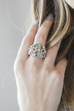 Paparazzi Jewelry white rhinestones, green moonstones silver frames flex Ring