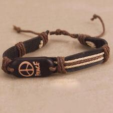 Black Brown Cream Peace Friendship Bracelet Surfer Wrist Band Adjustable Hippie