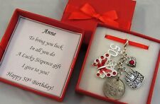 LUCKY SIXPENCE CHARM, 50th BIRTHDAY GIFT, PERSONALISED