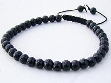 Delicate Men's Shamballa bracelet all 6mm black glass beads