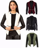 Women Blazer Ladies Quilted Leather Look Long Sleeve Zip Waterfall Jacket Top
