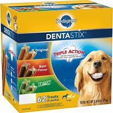 (62 TREATS) PEDIGREE DENTASTIX DOG TREATS, VARIETY PACK, ORIGINAL, BEEF, FRESH