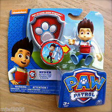 Nickelodeon PAW PATROL RYDER Action Pack CHARACTER & BADGE Figure Rider Kid Boy