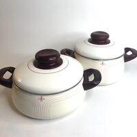 Vintage Silit German Mid Century Modern Fleur de Lis Enamel Cookware Set of 2