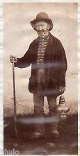 B260 Photo vintage Originale 1870 personnage mineur ? lampe huile baton