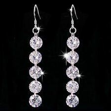 Long Style Shine 925 Sterling Silver With Swaroski Hook Earrings