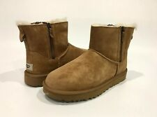 UGG CLASSIC MINI DOUBLE ZIP ANKLE BOOTS CHESTNUT BROWN SUEDE -US 10 -NEW