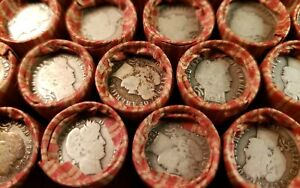 Wheat Cent Roll With Silver Barber Dime And Indian Head Cent Penny On The Ends