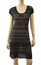 M MISSONI Charcoal Gray Wave Crochet Cap Sleeve Mini Dress 44 US 8