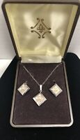 Vintage NOS * THEDA * Sterling Silver & Pearl Necklace and Earrings Set UNIQUE