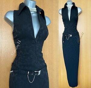 KAREN MILLEN UK 12 Collared Black Jacquard Belted Ball Gown Long Maxi Dress EU40