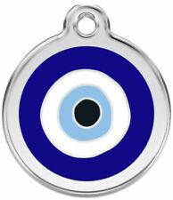 Red Dingo Enamel Dog & Cat ID Tags Evil Eye Dark Blue