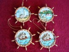 (4) 1996 Roman,Inc. Nautical Christmas Ornaments~Sailboat~Lighth ouse