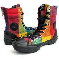 New CONVERSE WOOLRICH Chuck Taylor Rainbow Plaid High Top Boots Womens US 5