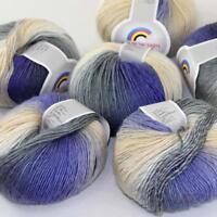 Sale New Soft Cashmere Wool Rainbow Wrap Shawl DIY Hand Knit Yarn 6ballsx50gr 15
