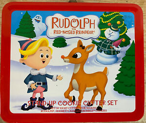 Rudolph Red Nosed Reindeer Stand Up Cookie Cutter Set Full Size Tin Lunch Box