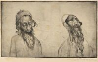 Max Pollak Old Etching of 2 Jewish Yemen Men Pencil Signed & Num 6/100 on Paper