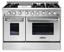 "Gas Range 48"" Thor Kitchen HRG4808U Double Oven Stainless Steel Griddle 6-Burner"