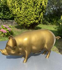 More details for brass piggybank large heavy porker pig hog 29cm
