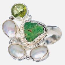 ECHTER TSAVORIT Rohstein Ring Gr17 925 Silber Peridot Perlen *27x17mm*
