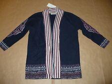ZARA Ethnic Jacket Medium NWT Navy Blue Long Sweater Cardigan M Sold Out