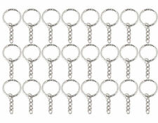 52 mm Silver Tone Key Ring Blanks chain Split Rings Findings 4 Link Chain UK