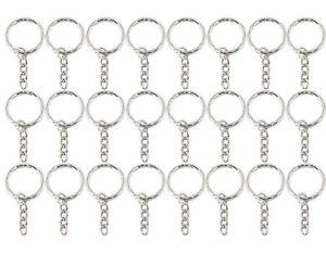 52 mm Silver Tone Key Ring Blanks chain Split Rings Findings 4 Link Chain UK
