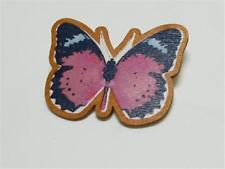 Butterfly - Free Uk P&P Cg3350.Wooden Printed Brooch Of A