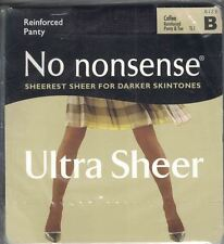 No Nonsense Reinforced Panty & Toe Ultra Sheer Pantyhose COFFEE Size B New